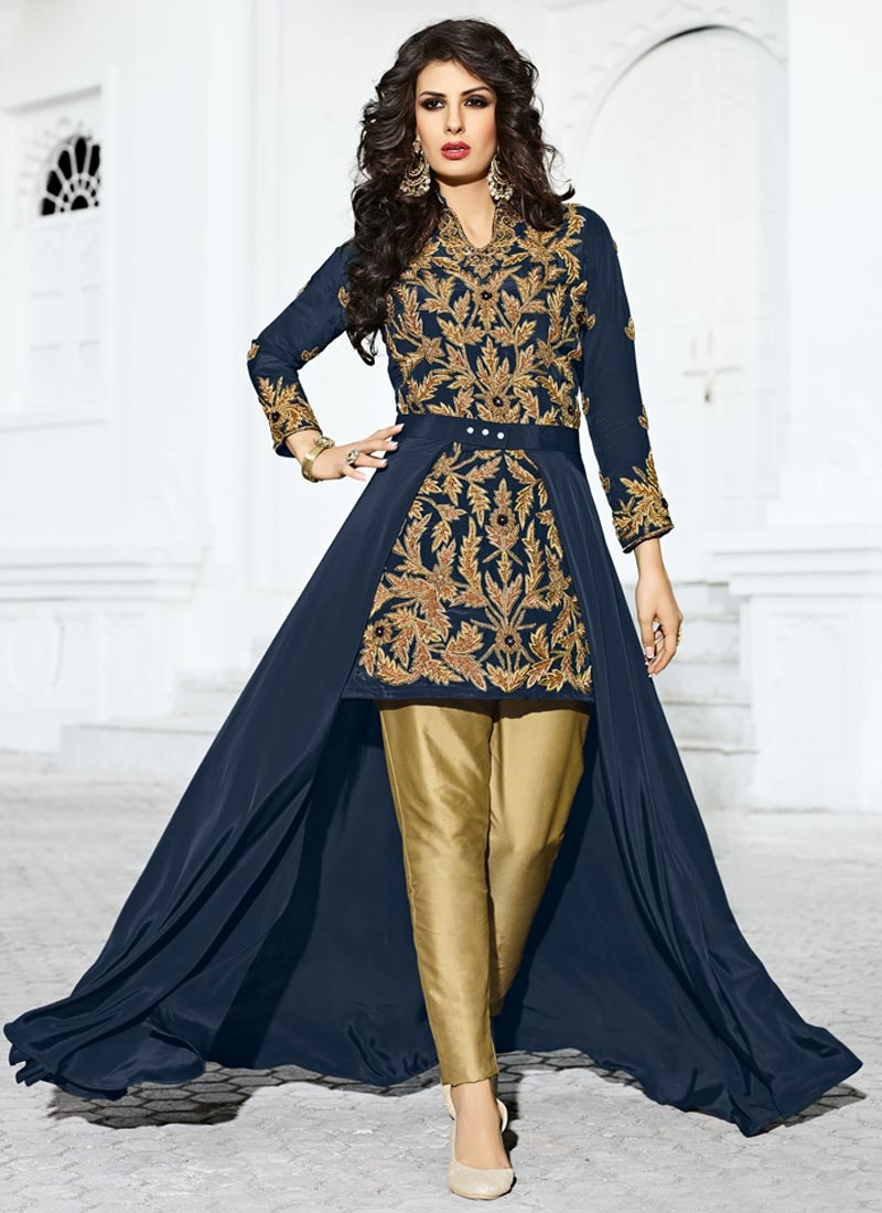 Shop imposing beige and navy blue beads work trendy pant for Imposing beige bodenfliesen