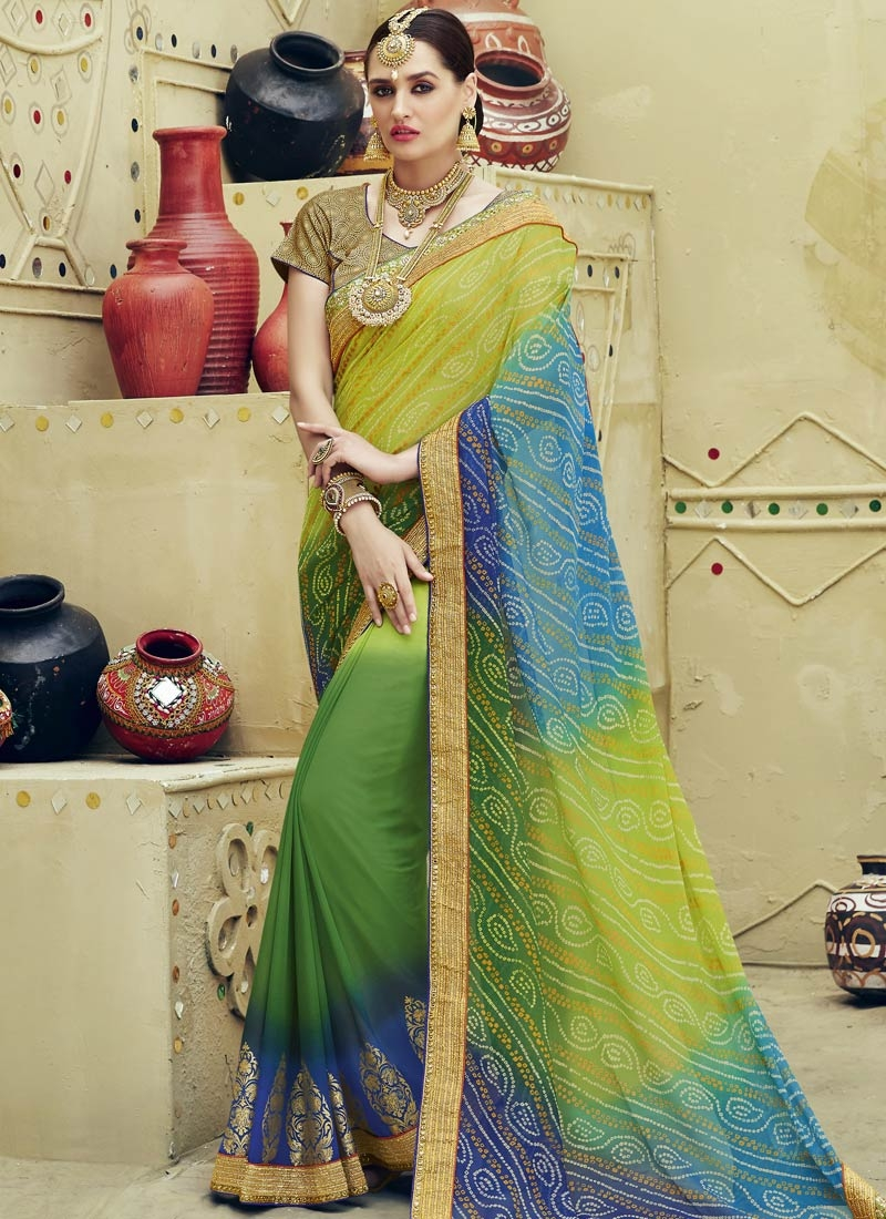 Imposing Block Print Work Party Wear Saree