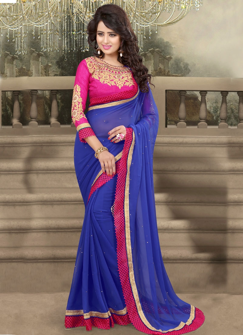 Imposing Blue Color Resham Work Party Wear Saree