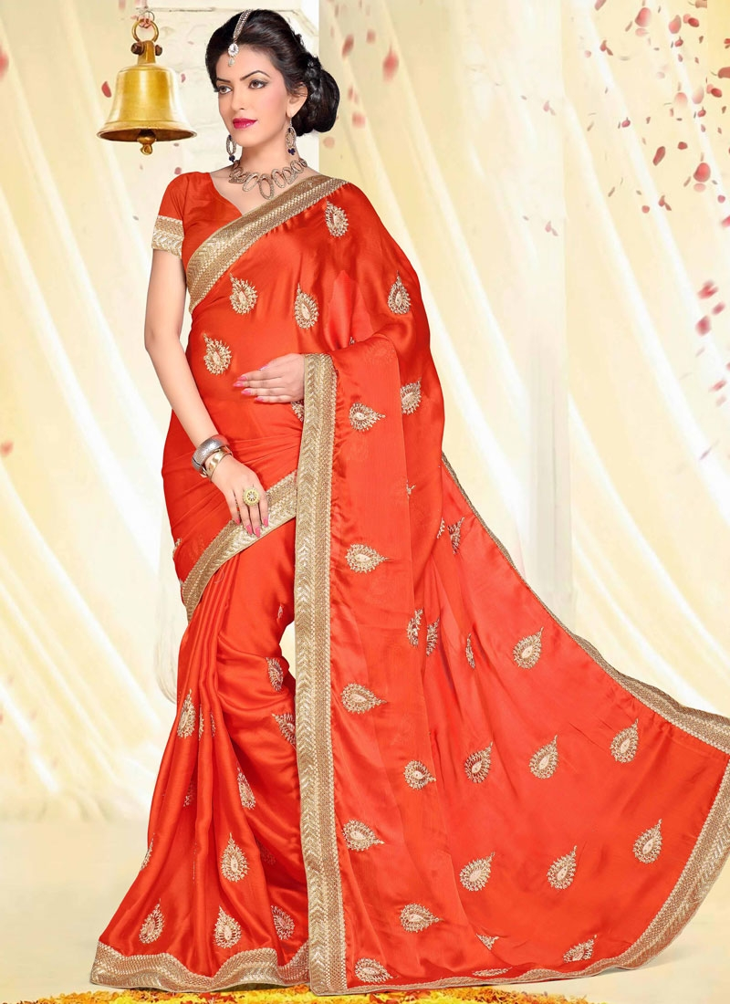 Imposing Booti Work Chiffon Satin Party Wear Saree