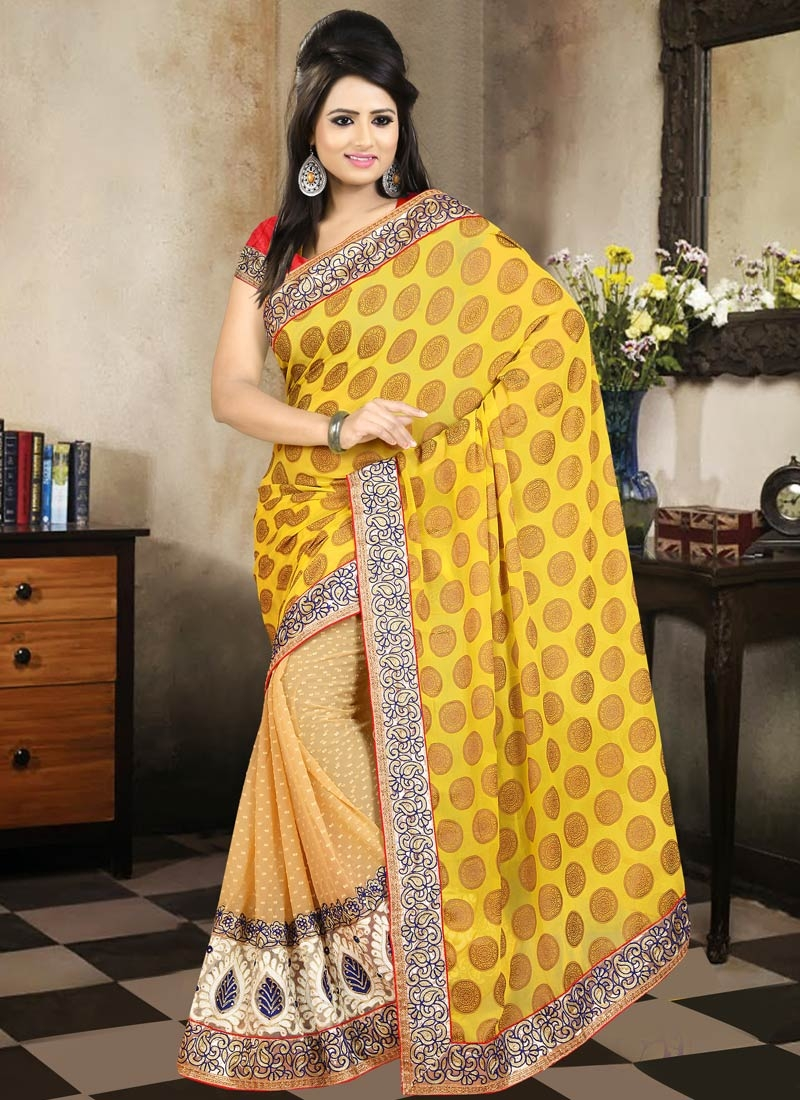 Imposing Faux Georgette Half N Half Party Wear Saree