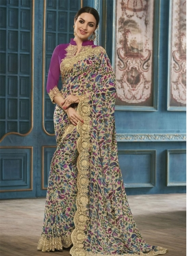 Imposing  Faux Georgette Trendy Classic Saree For Ceremonial