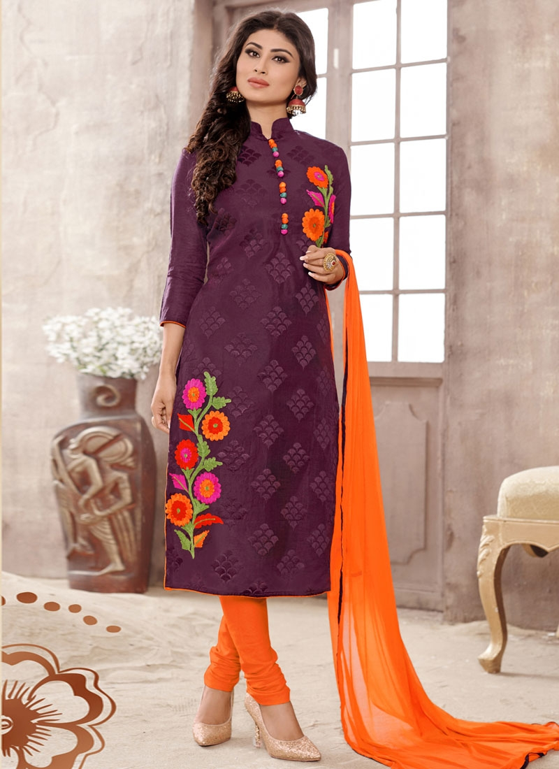 Imposing Floral Work Cotton Mouni Roy Party Wear Salwar Kameez