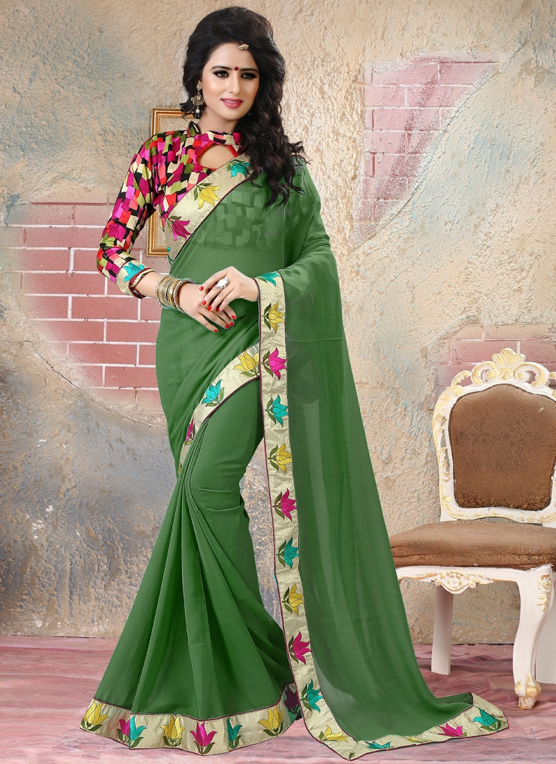 Imposing Green Color Faux Georgette Party Wear Saree