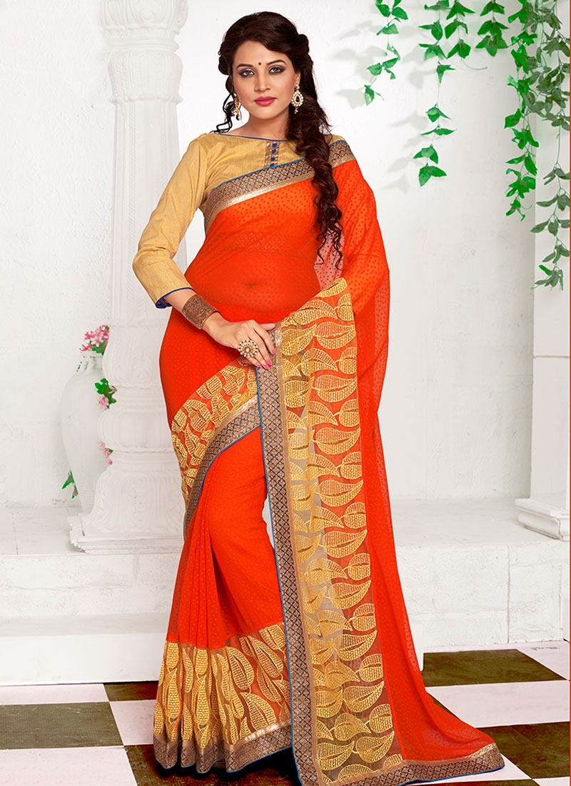 Imposing Lace And Embroidery Work Party Wear Saree