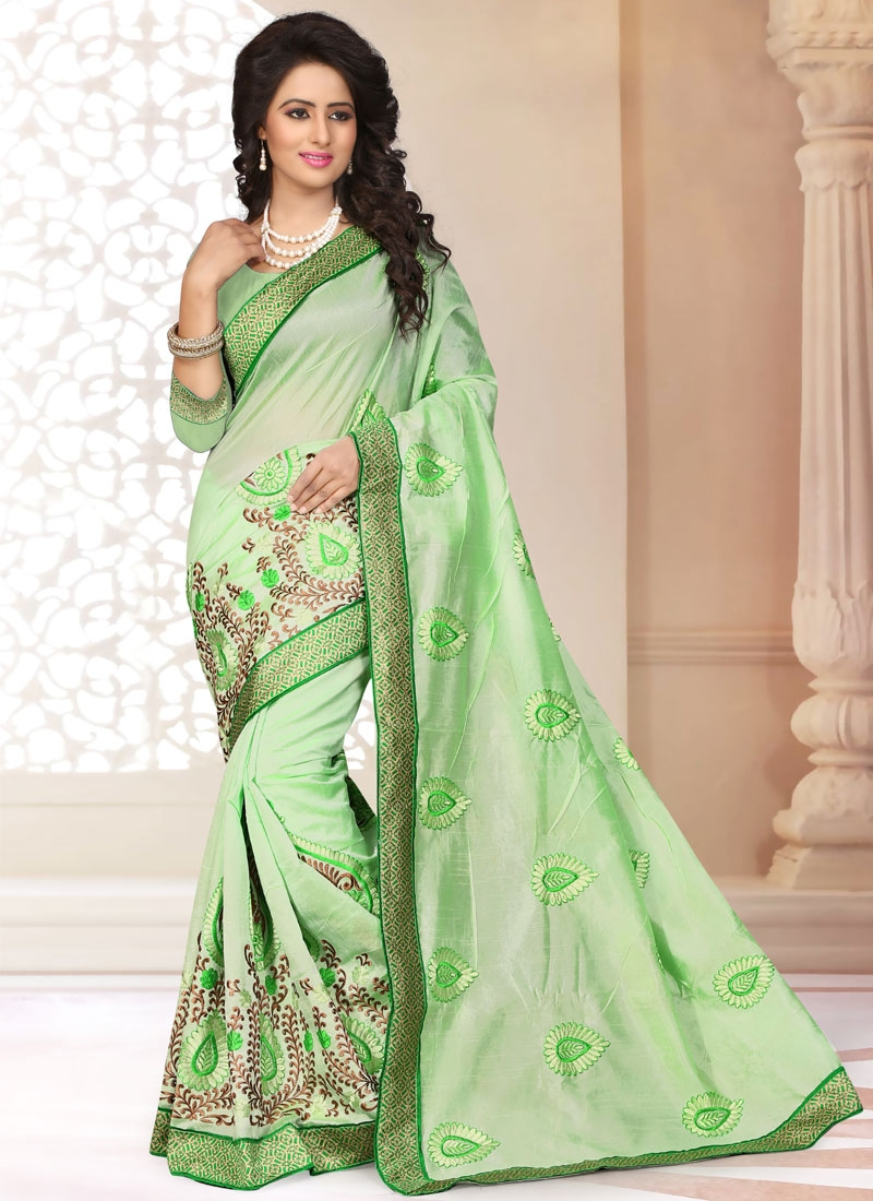 Imposing Mint Green Color Chanderi Silk Party Wear Saree