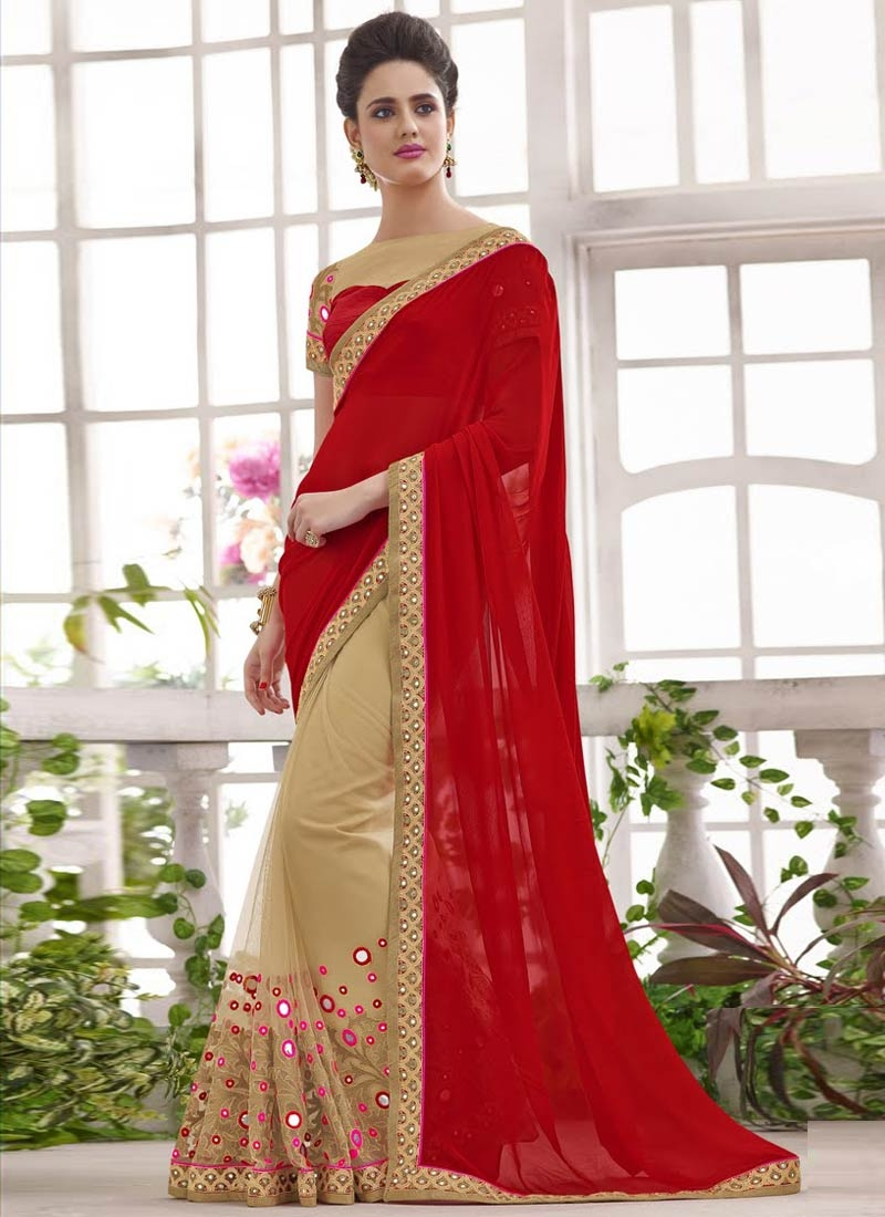 Imposing Mirror Work Half N Half Wedding Saree