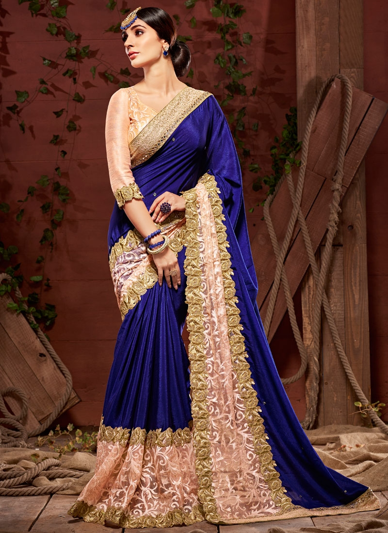 Imposing Net Brasso Lace Work Wedding Saree