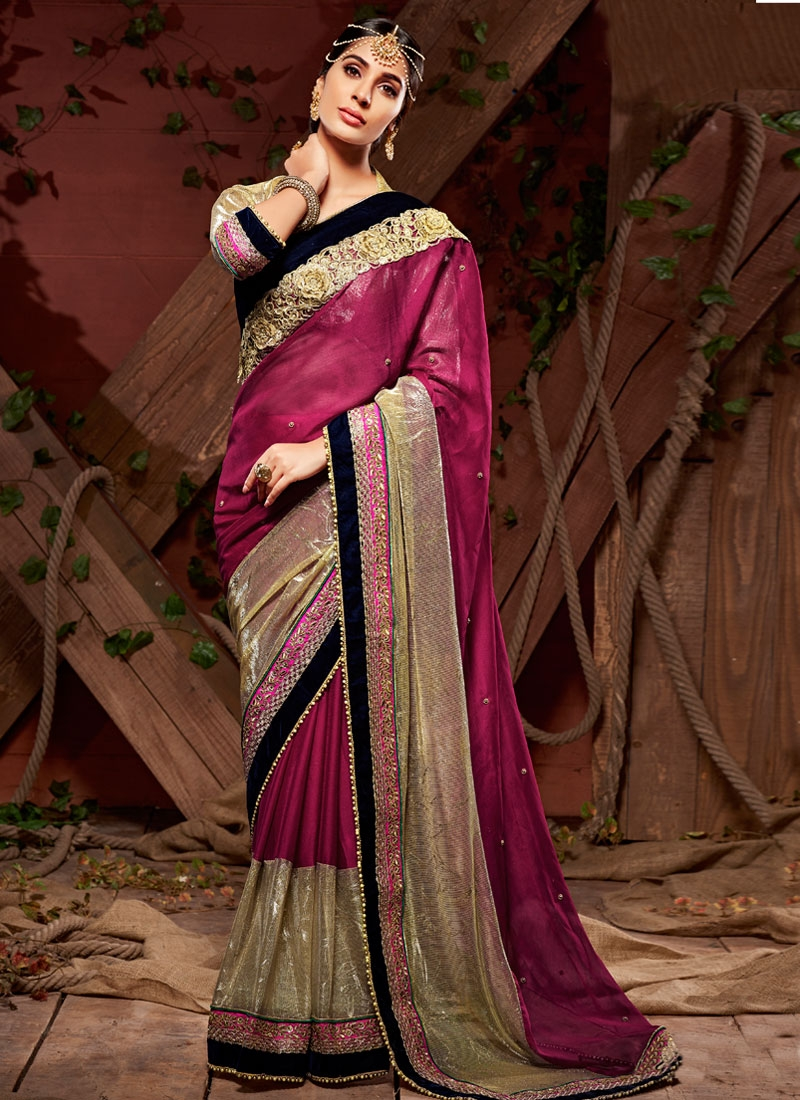 Imposing Patch Border And Beads Work Designer Saree