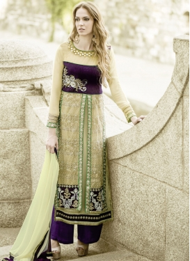 Imposing Patch Border Work Palazzo Style Designer Suit