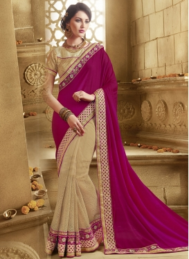 Imposing Purple Color Net And Satin Half N Half Designer Saree