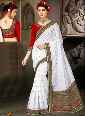 Imposing Red and White Traditional Designer Saree
