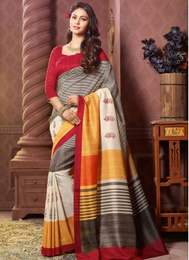Imposing Resham Work Printed Party Wear Saree