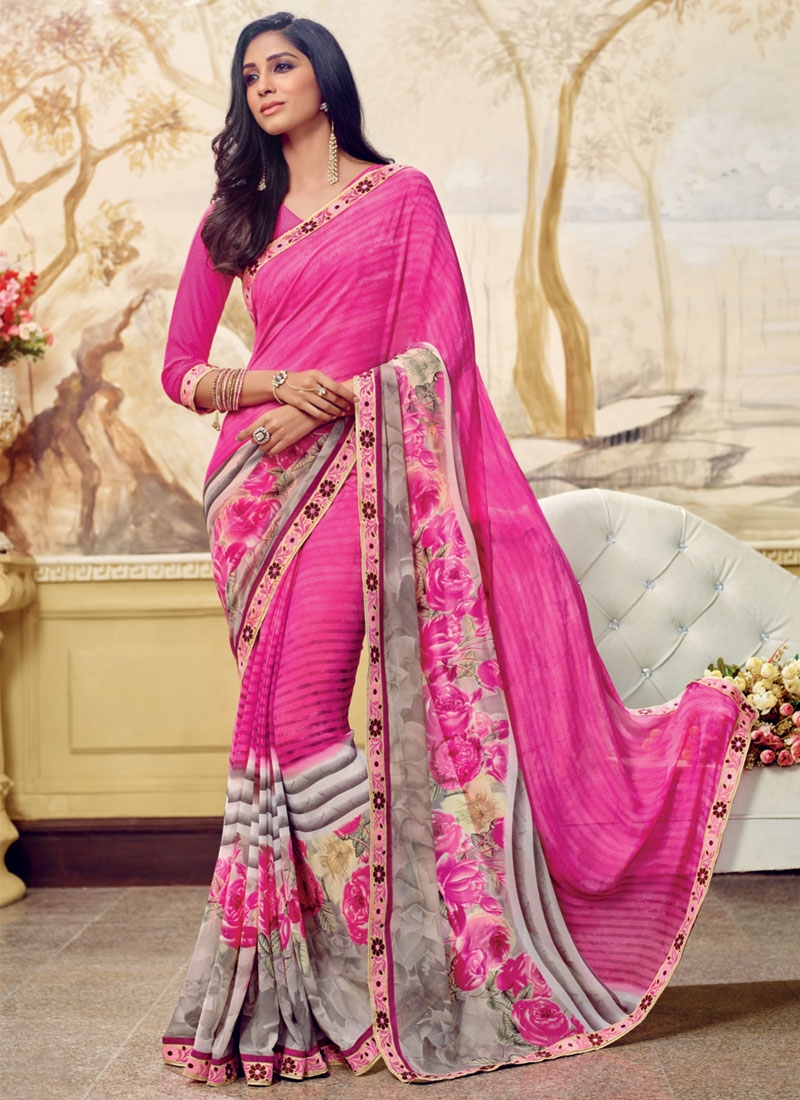 Imposing Rose Pink And Silver Color Casual Saree