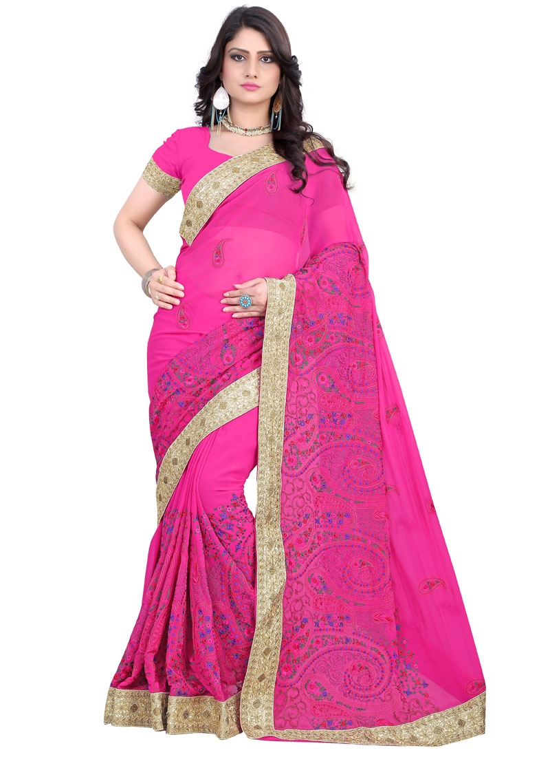 Imposing Rose Pink Color Floral Work Designer Saree