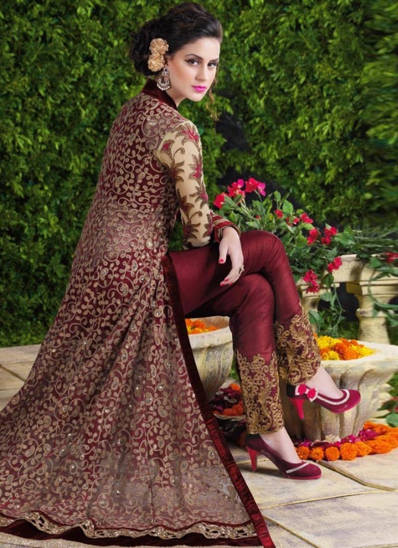 Imposing Sequins Work Long Length Designer Suit