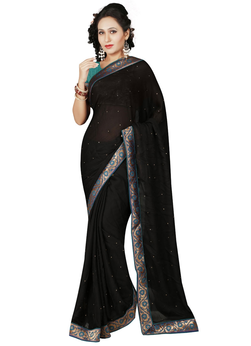 Imposing Stone Work Black Color Casual Saree
