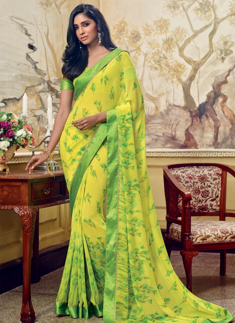 Imposing Yellow Color Printed Casual Saree