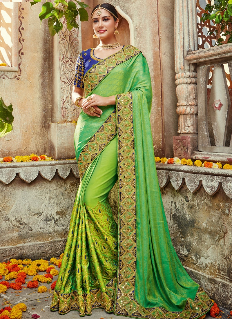Impressive Beads Work Aloe Veera Green and Navy Blue Designer Traditional Saree