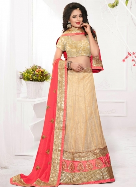 Impressive  Cream and Salmon Straight Lehenga Choli For Ceremonial