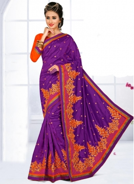 Impressive  Embroidered Work Classic Saree For Festival