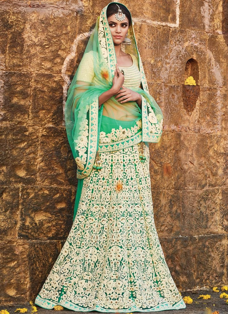 Impressive Embroidery Work Bridal Lehenga Saree