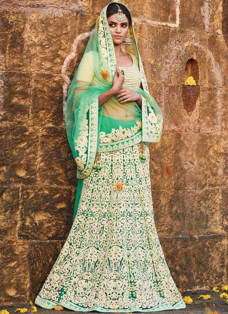 Impressive Embroidery Work Bridal Lehenga Saree