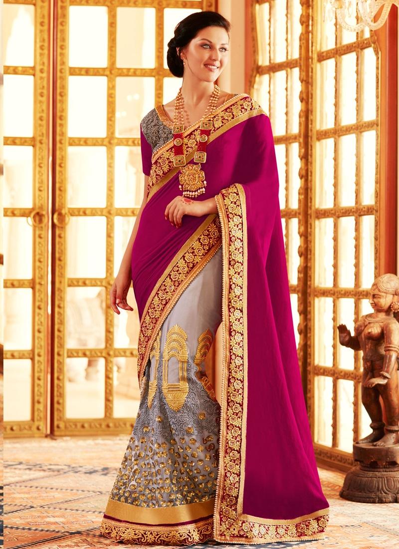 Impressive Embroidery Work Velvet Lehenga Saree