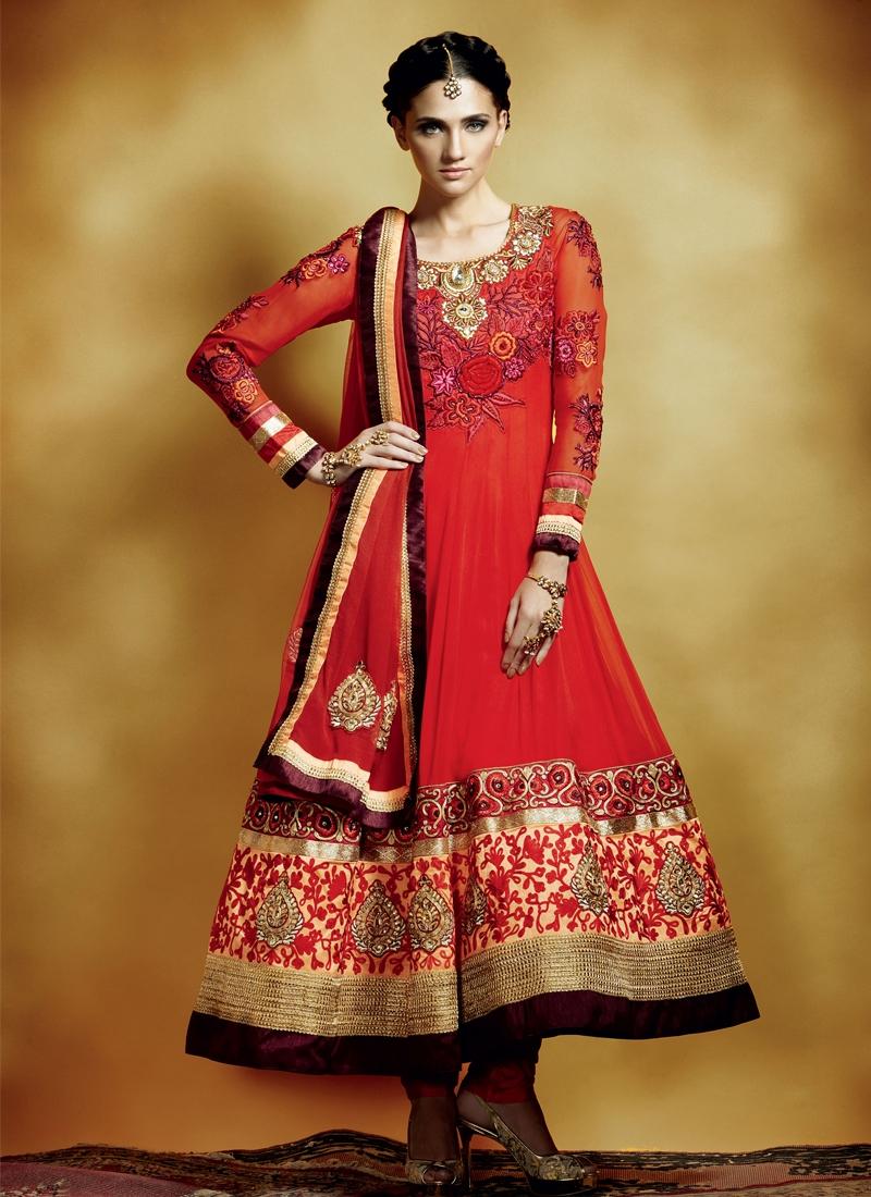 Impressive Floral Work Anarkali Salwar Kameez