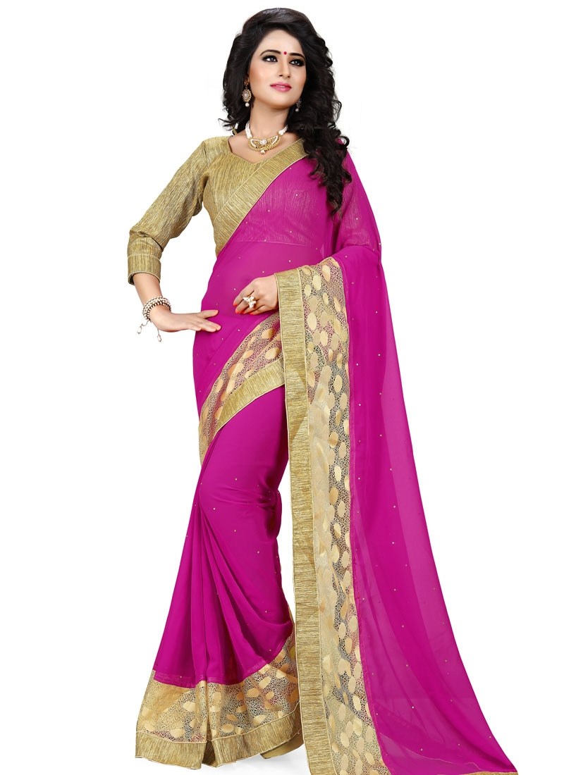 Impressive Fuchsia Color Resham Work Party Wear Saree