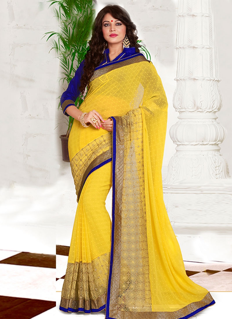 Impressive Jacquard Yellow Color Party Wear Saree