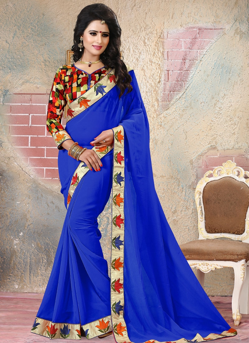 Impressive Lace And Resham Work Party Wear Saree