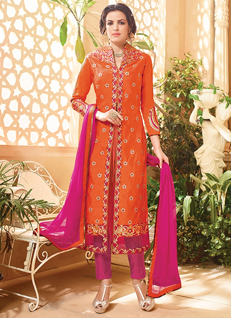 Impressive Lace Work Orange Color Pant Style Designer Suit