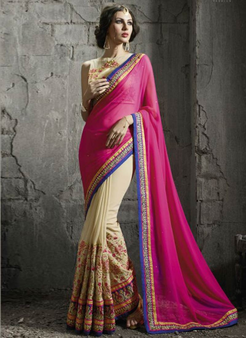 Impressive Patch Border Work Half N Half Designer Saree
