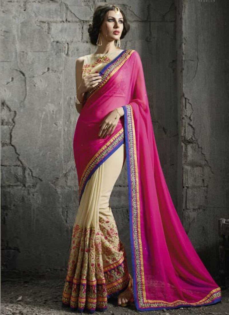 Impressive Patch Border Work Half N Half Designer Saree