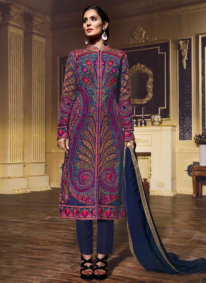 Impressive Pure Georgette Pant Style Wedding Salwar Kameez