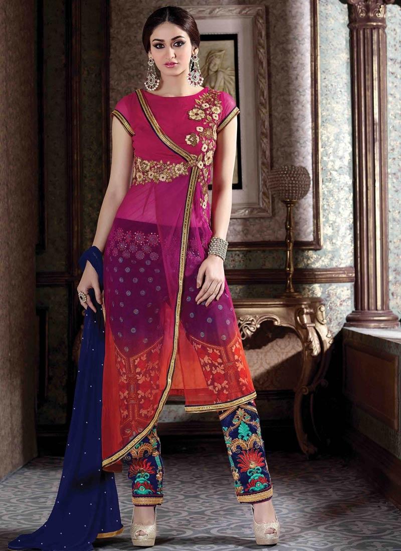 Impressive Resham Work Pant Style Designer Salwar Suit