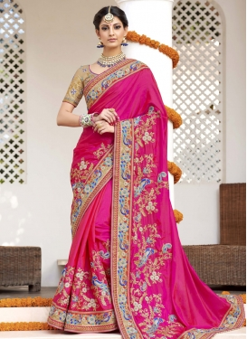 Impressive Satin Silk Beads Work Contemporary Style Saree