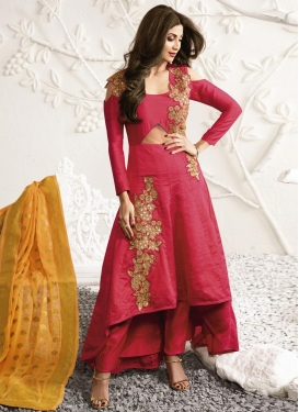 Impressive Shilpa Shetty Brocade Asymmetrical Designer Salwar Suit