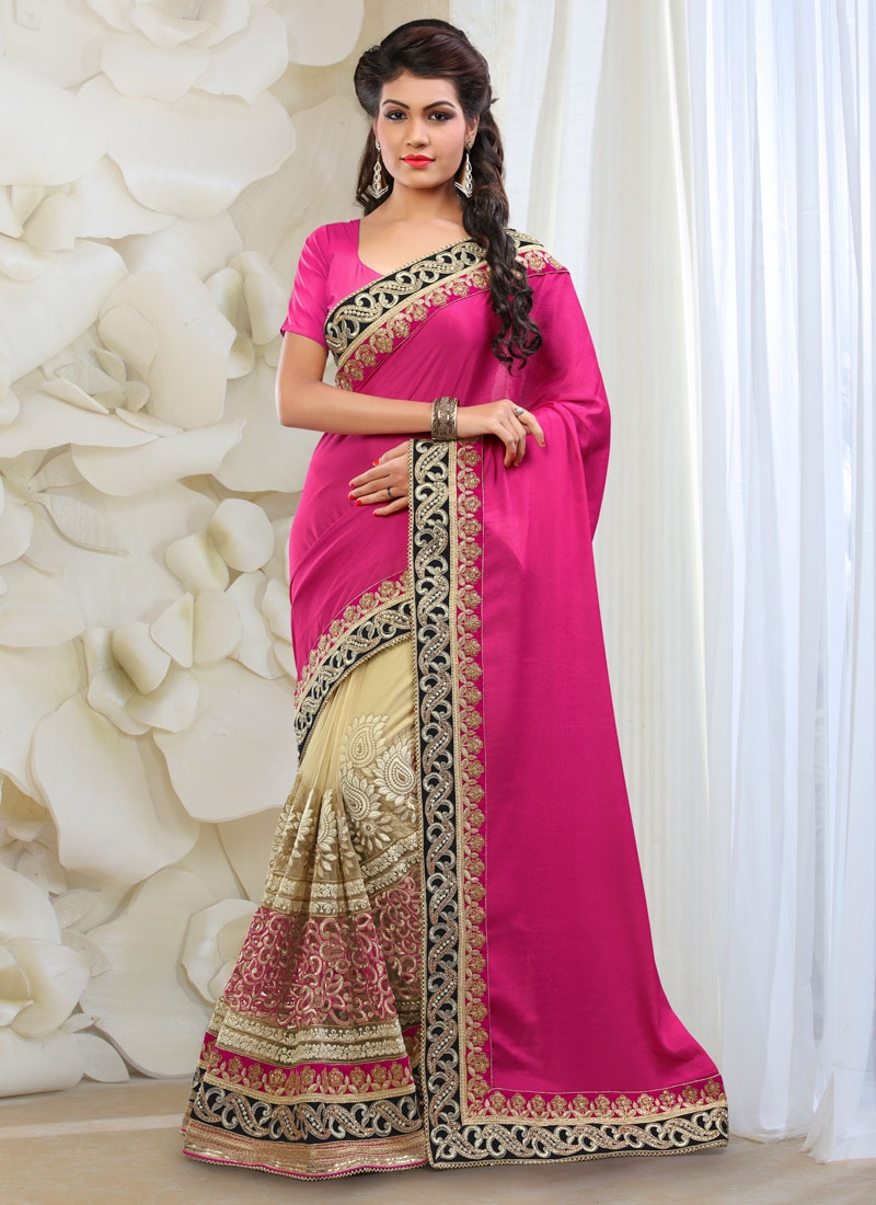 Incredible Beads And Lace Work Half N Half Bridal Saree