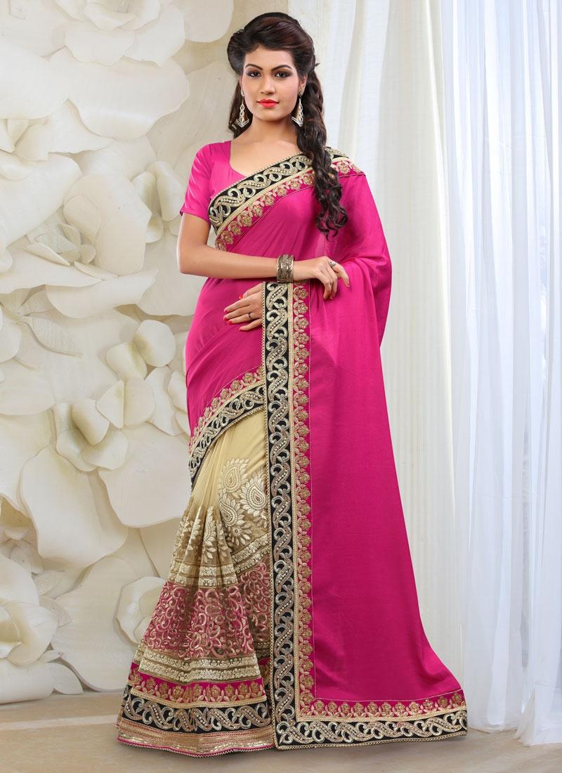Incredible Beads And Lace Work Half N Half Bridal Saree