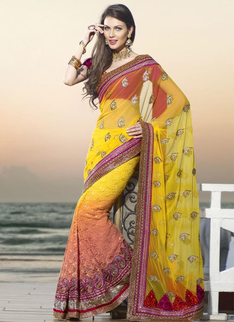 Incredible Chicken Enhanced Wedding Saree