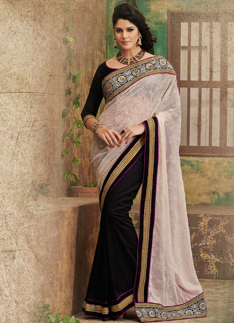 Incredible Cream And Black Half N Half Saree