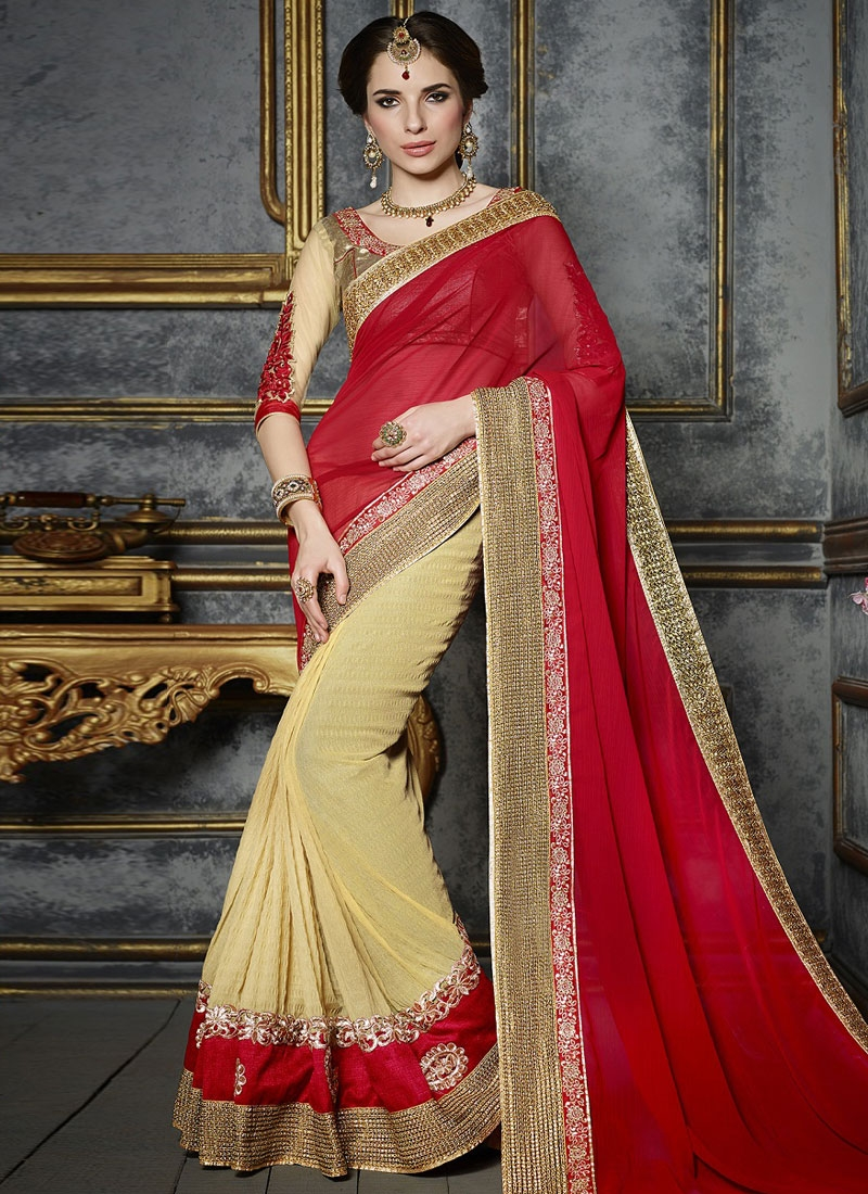 Incredible Cream And Red Color Half N Half Party Wear Saree