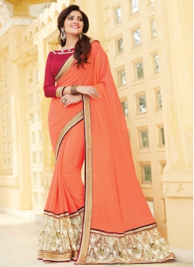 Incredible Embroidered Work Faux Chiffon Contemporary Style Saree