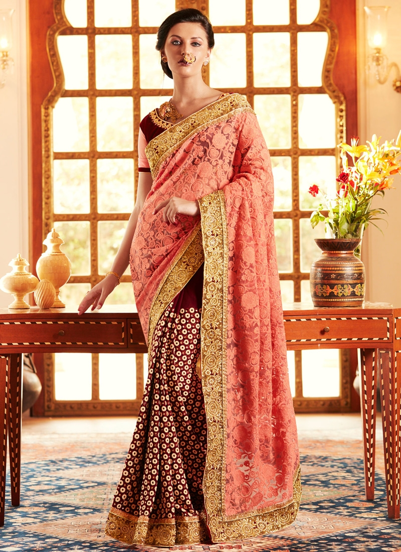Incredible Embroidery Work Half N Half Wedding Saree