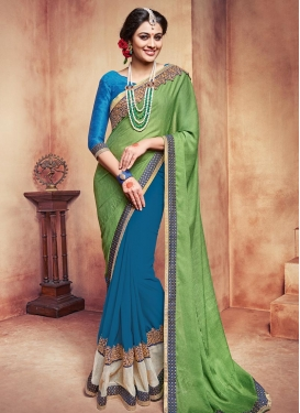 Incredible Faux Georgette Designer Half N Half Saree