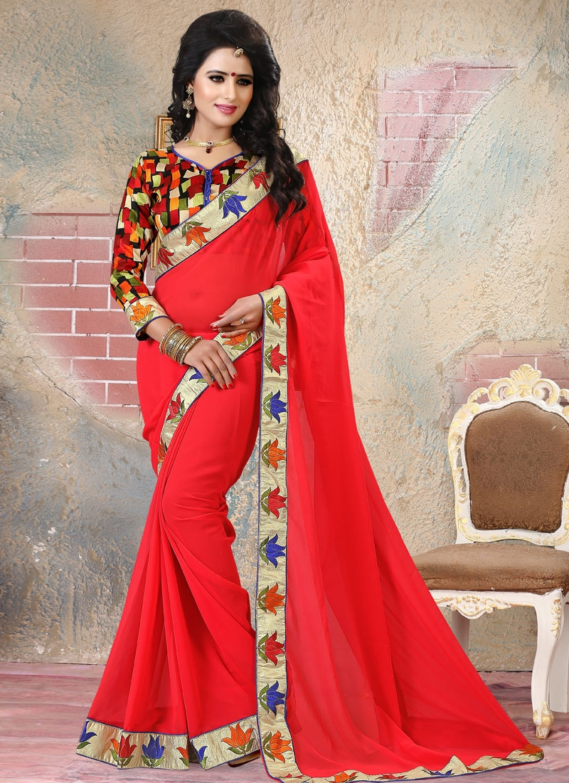 Incredible Faux Georgette Resham Work Party Wear Saree