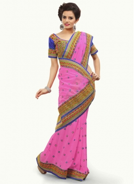 Incredible Faux Georgette Stone Work Party Wear Saree