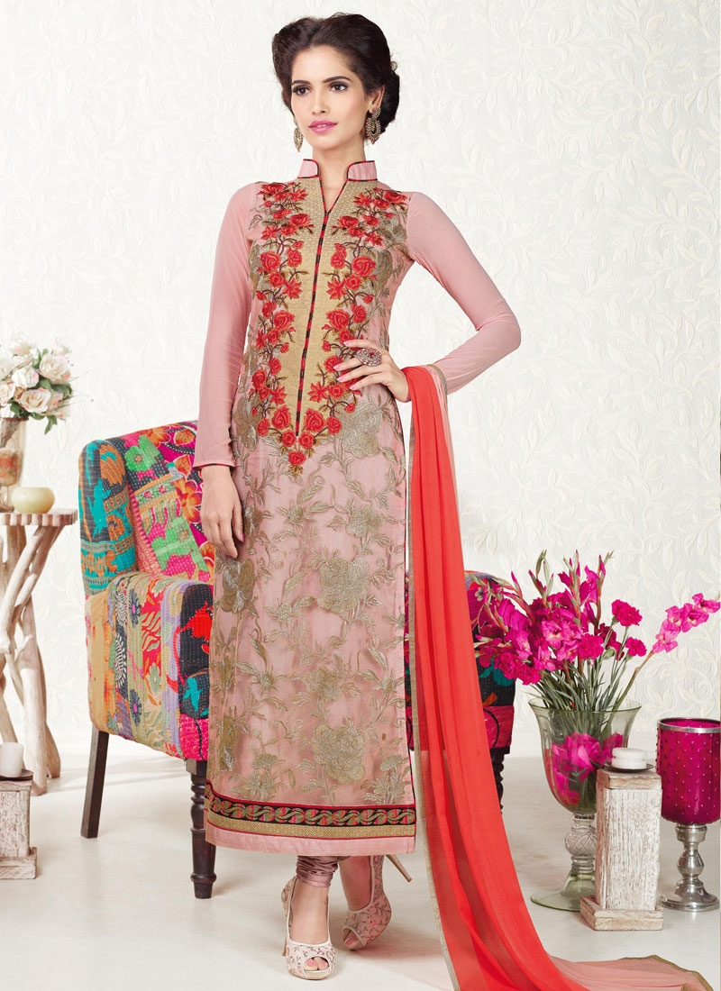 Incredible Floral And Karachi Work Pakistani Salwar Kameez